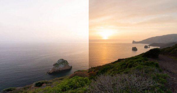 Foto esempio prima dopo filtri ND e GND